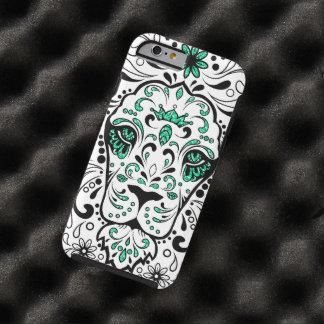 Cráneo negro y verde blanco del azúcar del león funda para iPhone 6 tough