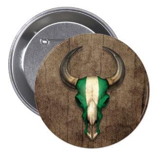 Cráneo nigeriano de Bull de la bandera en el efect Pins