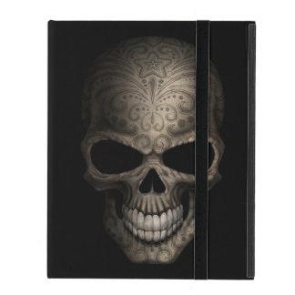 Cráneo oscuro adornado iPad cárcasas