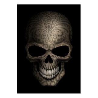 Cráneo oscuro adornado tarjetas de visita grandes