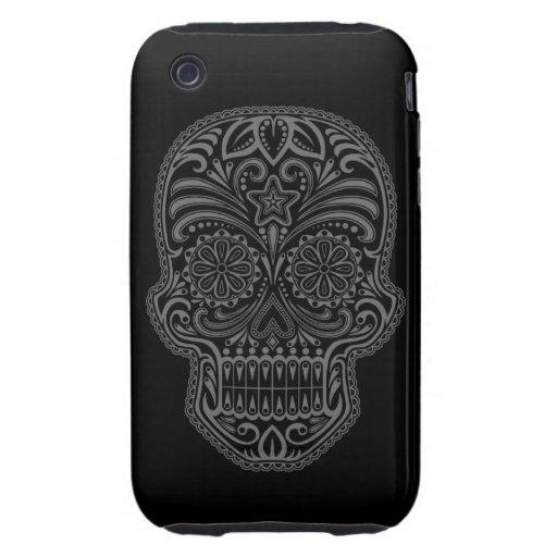 Cráneo oscuro decorativo del azúcar tough iPhone 3 carcasas