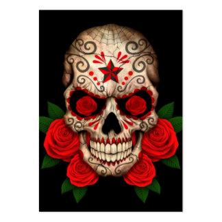Cráneo oscuro del azúcar con los rosas rojos plantilla de tarjeta de negocio