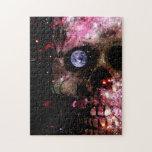 Cráneo oscuro del universo rompecabeza con fotos