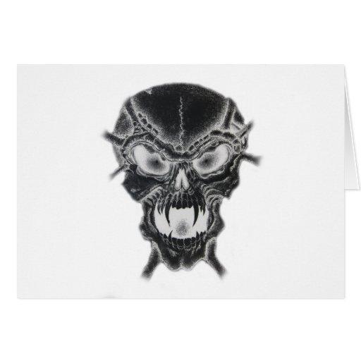 Cráneo oscuro del vampiro tarjeta de felicitación