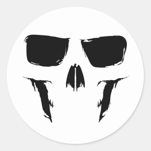 Cráneo Painterly Etiqueta Redonda