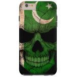 Cráneo paquistaní de la bandera en negro funda de iPhone 6 plus tough