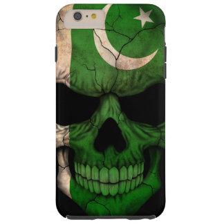 Cráneo paquistaní de la bandera en negro funda para iPhone 6 plus tough
