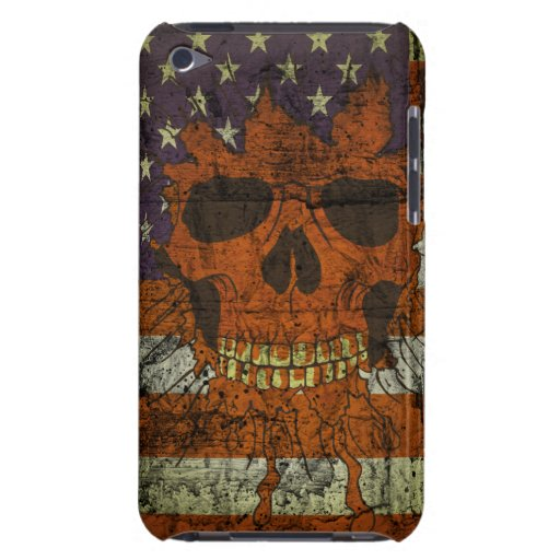 Cráneo patriótico americano en bandera de la pared Case-Mate iPod touch funda