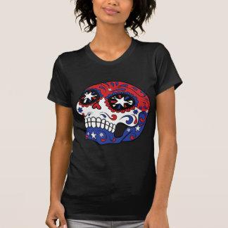 Cráneo patriótico azul blanco rojo del azúcar de remeras