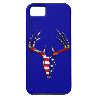 Cráneo patriótico de la caza de los ciervos iPhone 5 fundas