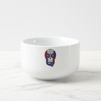 Cráneo patriótico del azúcar de los colores de los tazón para sopa