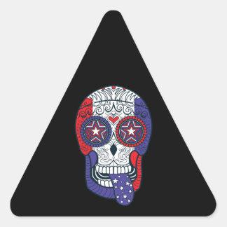 Cráneo patriótico del azúcar de los colores de los pegatina triangular