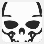 cráneo pegatina cuadrada
