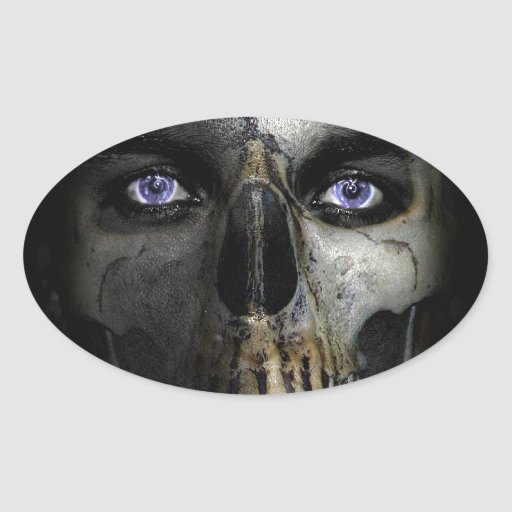 Cráneo Pegatina Ovalada