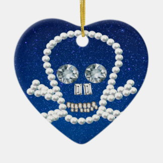 cráneo, perlas adorno de cerámica en forma de corazón