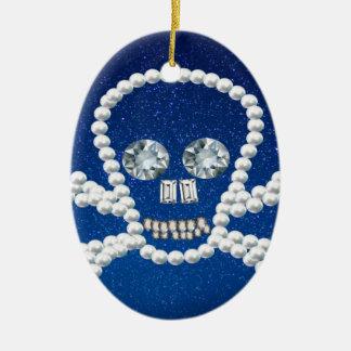 cráneo, perlas adorno ovalado de cerámica