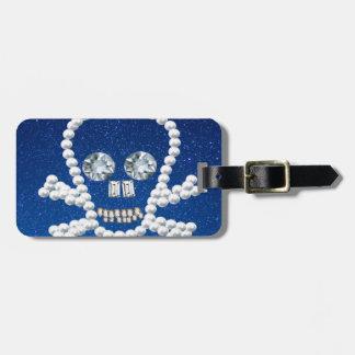 cráneo, perlas etiquetas bolsa