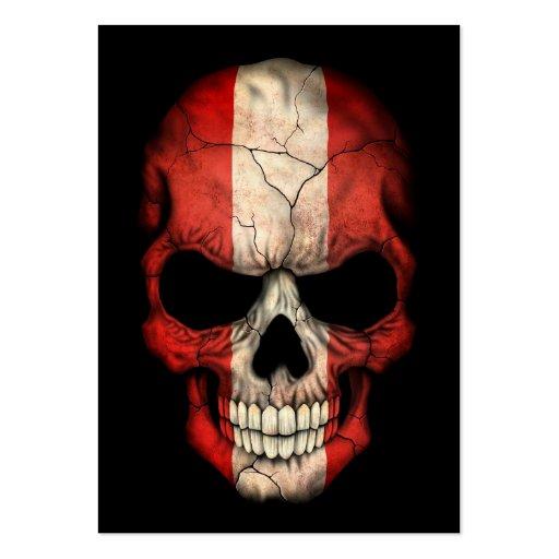Cráneo peruano de la bandera en negro plantillas de tarjetas personales
