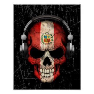 Cráneo peruano rasguñado de DJ con los auriculares Póster