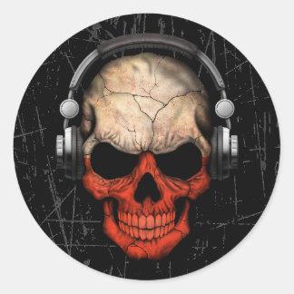 Cráneo polaco rasguñado de DJ con los auriculares Pegatina Redonda