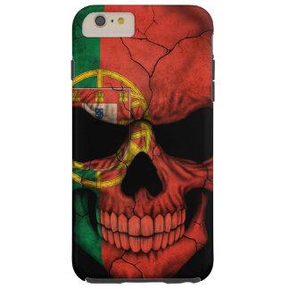 Cráneo portugués de la bandera en negro funda para iPhone 6 plus tough