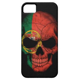 Cráneo portugués de la bandera en negro iPhone 5 carcasa