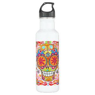 Cráneo psicodélico del azúcar botella de agua