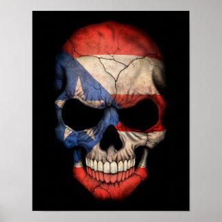 Cráneo puertorriqueño adaptable de la bandera póster