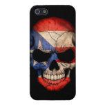Cráneo puertorriqueño de la bandera en negro iPhone 5 fundas