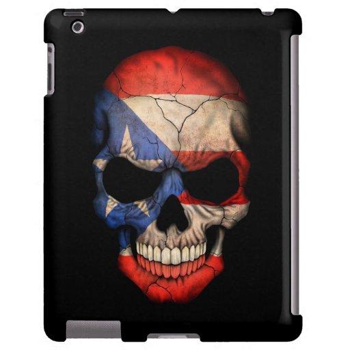 Cráneo puertorriqueño de la bandera en negro funda para iPad