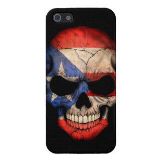 Cráneo puertorriqueño de la bandera en negro iPhone 5 carcasas