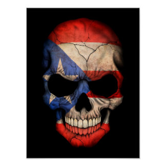 Cráneo puertorriqueño de la bandera en negro póster