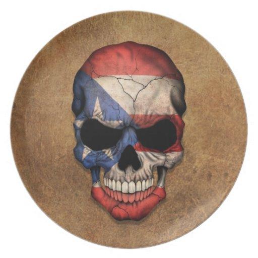 Cráneo puertorriqueño envejecido y llevado de la b platos