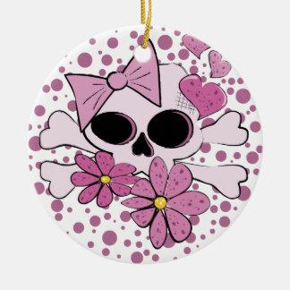Cráneo punky femenino adorno navideño redondo de cerámica