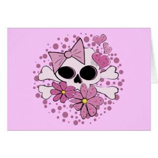Cráneo punky femenino tarjeta de felicitación