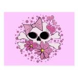 Cráneo punky femenino tarjetas postales