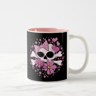 Cráneo punky femenino taza de café