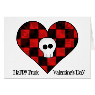Cráneo punky lindo del gótico en corazón a cuadros felicitaciones