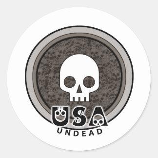Cráneo punky lindo los E.E.U.U. Pegatina Redonda