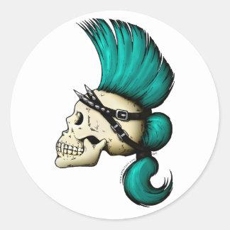 Cráneo punky pegatina redonda