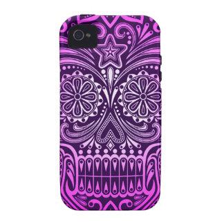 Cráneo púrpura apretado del azúcar iPhone 4/4S carcasa