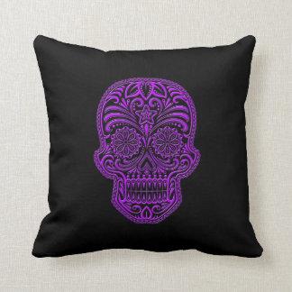 Cráneo púrpura complejo del azúcar en negro cojines