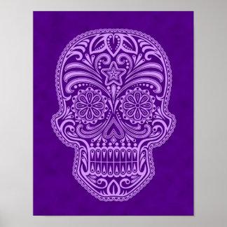 Cráneo púrpura complejo del azúcar poster