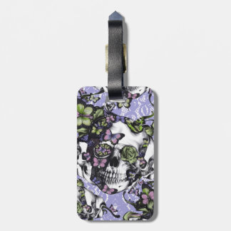 Cráneo púrpura de la mariposa del cordón etiquetas de maletas