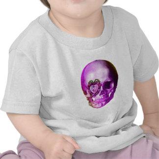 Cráneo púrpura de la tarjeta del día de San Valent Camisetas