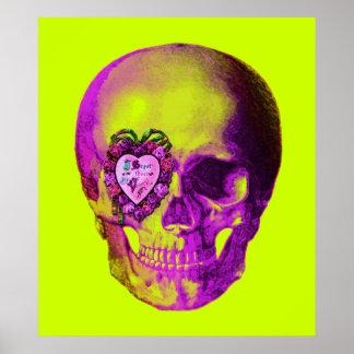 Cráneo púrpura de la tarjeta del día de San Valent Póster