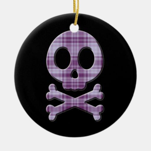 Cráneo púrpura de la tela escocesa adorno