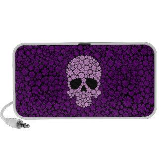 Cráneo púrpura de las flores salvajes portátil altavoces