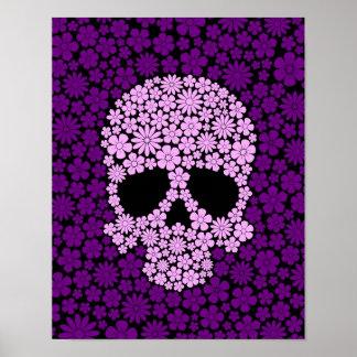 Cráneo púrpura de las flores salvajes poster