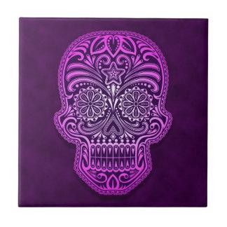Cráneo púrpura decorativo del azúcar azulejo ceramica